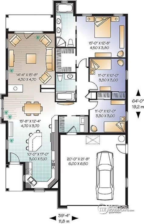 mediteranean  bedroom single storey  double garage en suite house plans garage