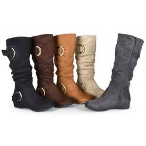 womens boots knee journee collection womens regular sized slouch buckle knee high microsuede boot ebay