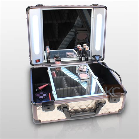 professional makeup vanity with lights new design wholesale aluminum small lighted beauty box