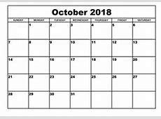 Free October 2018 Calendar Template Printable Download