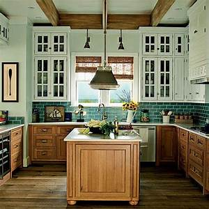 wood lower cabinets, white upper cabinets with glass
