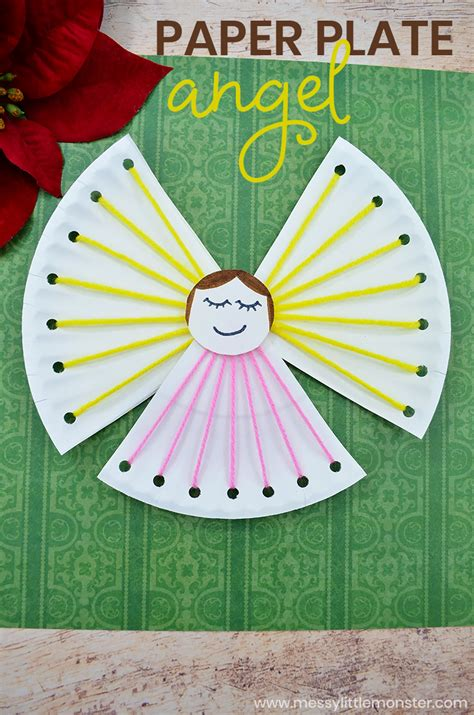 paper plate angel lacing craft messy  monster