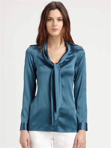 tie blouse burberry silk satin tie blouse lyst