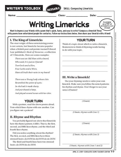 how to write a limerick worksheet worksheets for all