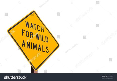 Wild Animal Road Sign Stock Photo 52633411