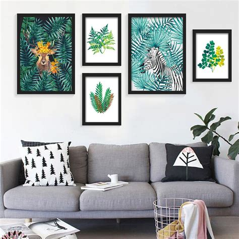 home decor wall posters nordic style watercolor plant tropical leaf flower cactus