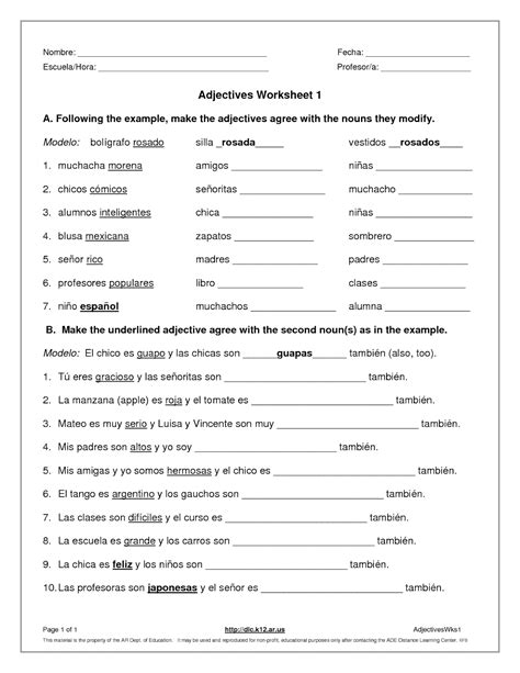 Spanish Adjectives Worksheet Worksheets For All Download