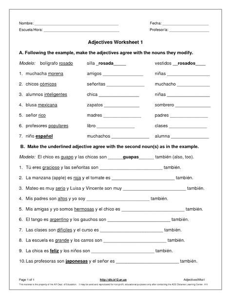 Spanish Adjective Worksheets Breadandhearth