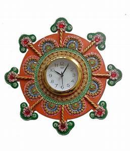 Unique, Indian, Crafts, Assymetric, Analog, Wall, Clock, D, U00e9cor, Watch, 3, X, 35, Cms, Buy, Unique, Indian