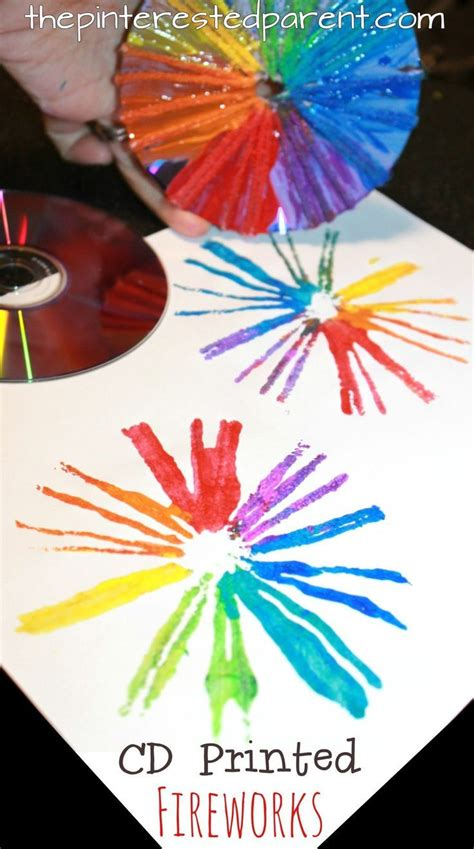 printmaking  cds  kids fireworks craft fireworks