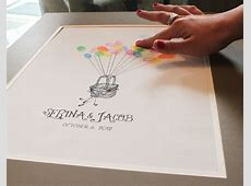 Hot Air Balloon Thumbprint Guest Book Trading Phrases