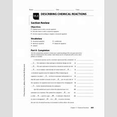 Describing Chemical Reactions 10th  12th Grade Worksheet  Lesson Planet
