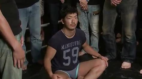 Asian Blindfolded Gay Thrashed In Rough Gangbang Sex