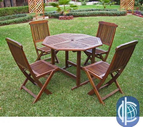 acacia 5 stowaway patio furniture set patio table