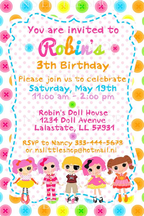 BUTTON DOLL birthday invitation card / customize/ by