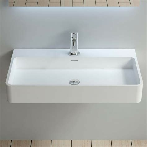 wall hung solid surface stone resin glossy bathroom sink