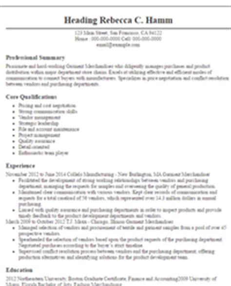 Garment Merchandiser Resume by Merchandiser Resumes Sle Resumes Livecareer
