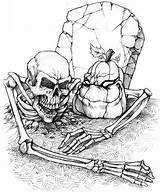 Printable Skeleton Grave Halloween Coloring Adults Popsugar Candy sketch template
