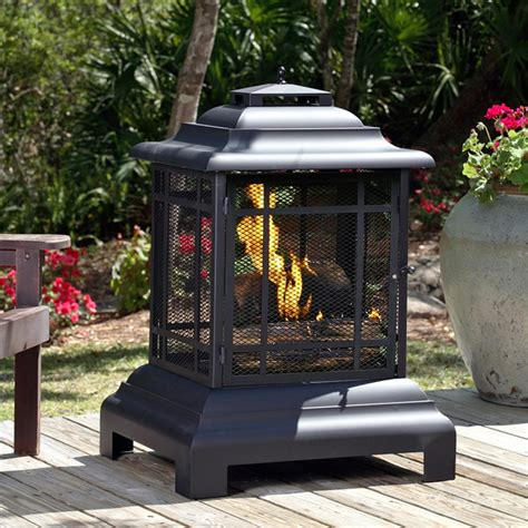 black rectangle pagoda patio wood burning fireplace 02679