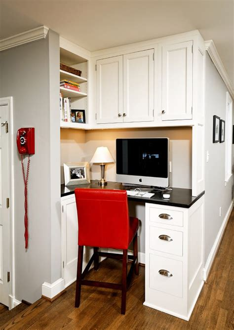 57 Cool Small Home Office Ideas  Digsdigs. Kitchen With Red Accessories. Kitchen Design In Red And White. Modern Kitchens Cabinets. Modern Kitchens Pictures. Warm Modern Kitchen. Kitchen Onion Potato Storage. Smitten Kitchen Red Velvet. Kitchen Cart Storage