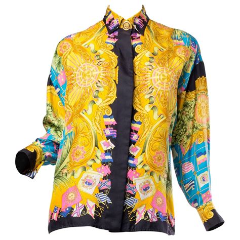 gianni versace couture womens printed silk blouse