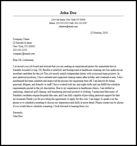 Cover Letter For Janitor Position by Professional Janitor Cover Letter Sle Writing Guide