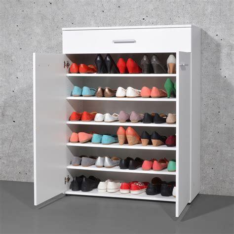 meuble 224 chaussures 24 paires avec tiroir en bois easy blanc