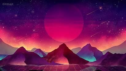 Vaporwave Wallpapers 4k Landscape Moon Terrain Mountains