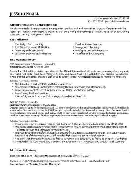 Resume Exles Restaurant Manager by Best Airport Restaurant Manager Unit With Employment Career History And Key Skills Area