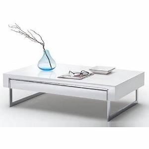 Table Basse Avec Tiroir : table basse design blanc laqu avec tiroir lounia achat vente table basse table basse design ~ Teatrodelosmanantiales.com Idées de Décoration