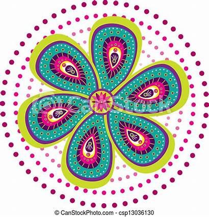 Muster Indische Bunte Traditionelle Farbige Clipart Kultur
