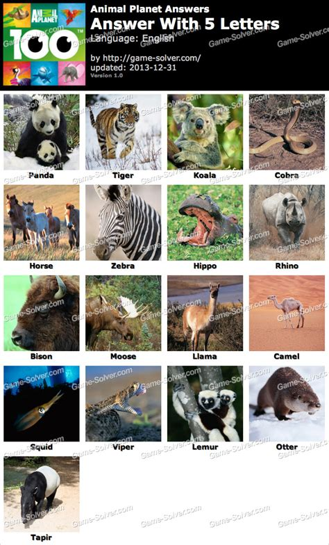 5 letter animals animal planet 5 letters solver 8828