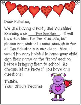 Valentine's Day Party Letter to Parents