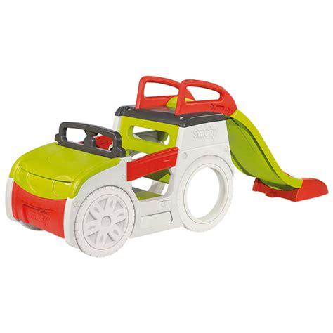 age siege auto bebe trio voiture toboggan et bac à adventure car smoby
