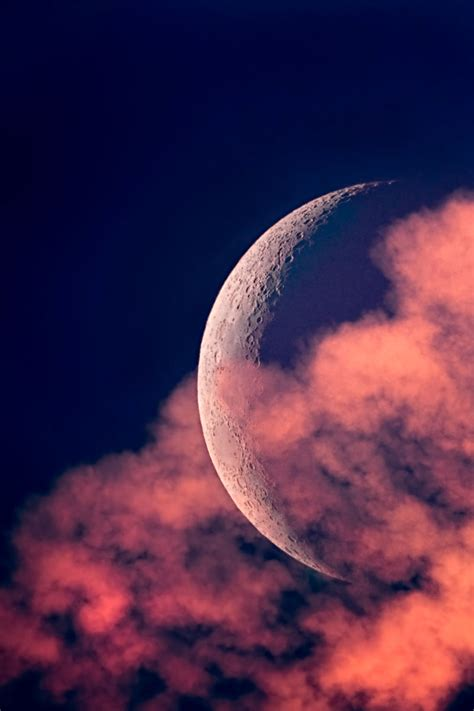 crescent moon clouds sunset lunar photo gallery