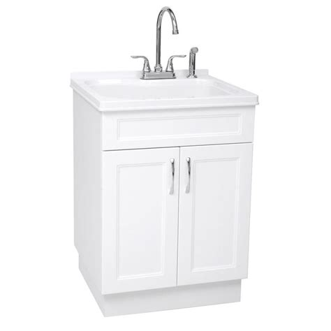 utility sink faucet lowes shop westinghouse 21 45 in x 24 21 in 1 basin white