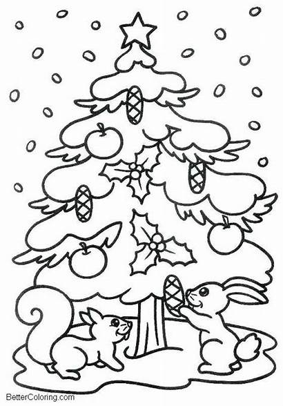 Coloring Winter Pages Tree Evergreen Printable Adults