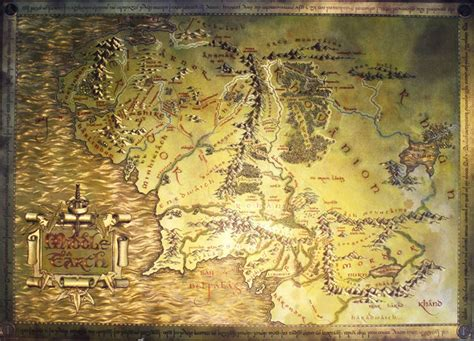 The Lord Of The Rings / The Hobbit Metallic Map Of Middle