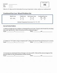 Combined Gas Law Problems Worksheet