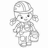 Trowel Cartoon Cement Outline Mortar Builder Coloring Profession Illustrations Clip Activity Vectors Istockphoto sketch template