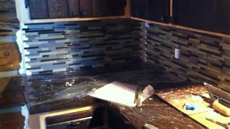 installing mosaic tile backsplash  log cabin part
