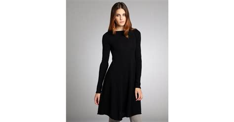 Autumn Cashmere Cashmere Long Sleeve Flared Sweater Dress In Black