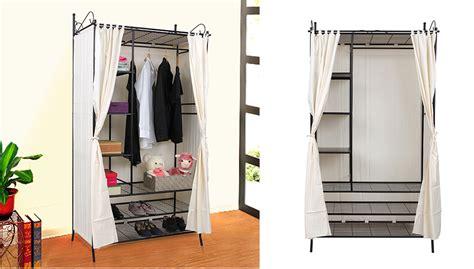 kleiderschrank stoff ikea metall kleiderschrank faltschrank garderobe schrank stoff mit vorhang rtg04h ebay