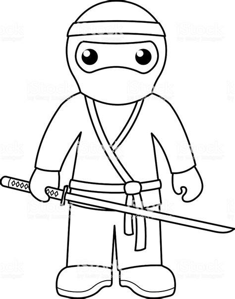 ninja coloring page  kids stock illustration
