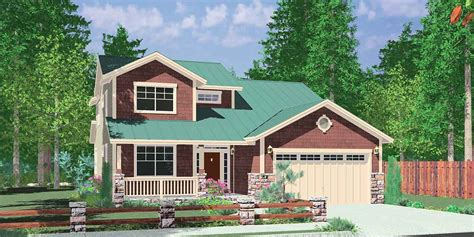 craftsman bungalow floor plans 40 ft wide narrow lot house plan w master on the floor