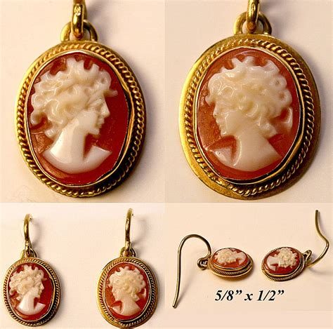 360 best shop vintage jewelry vintage 18k gold shell cameo earrings pair