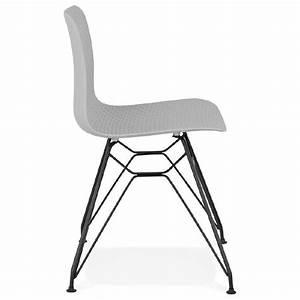 Chaise Pied Metal Noir : chaise design et industrielle venus pieds m tal noir gris clair ~ Teatrodelosmanantiales.com Idées de Décoration