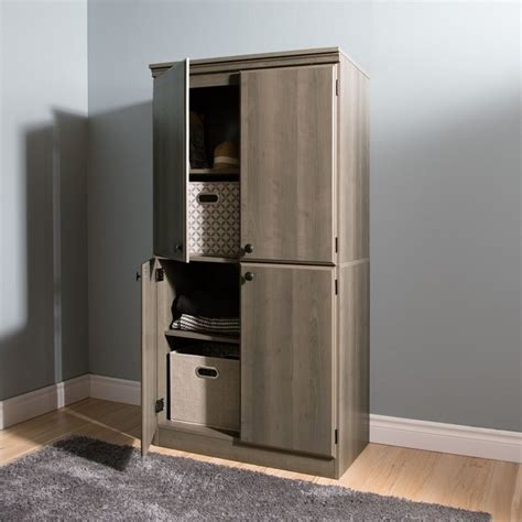south shore cabinets south shore 4 door wood storage cabinet in gray 2404