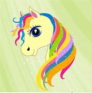 ม้าน่ารักไอคอนหัวสีสันประกายการ์ตูนตกแต่ง-ไอคอนของเวกเตอร์ ...