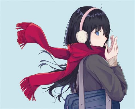 Wallpaper Red Scarf Black Hair Anime Girl Profile View
